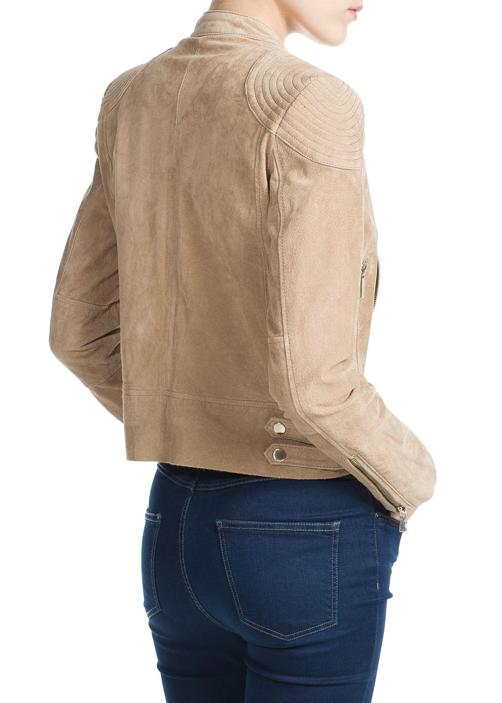 Peccary biker jacket -  Jackets - Women - MANGO