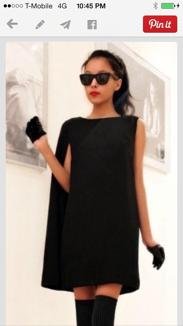 dress lack cape capelet black dress