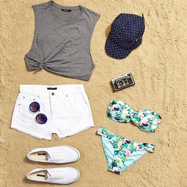 shirt grey hat shorts swimwear shoes sunglasses top