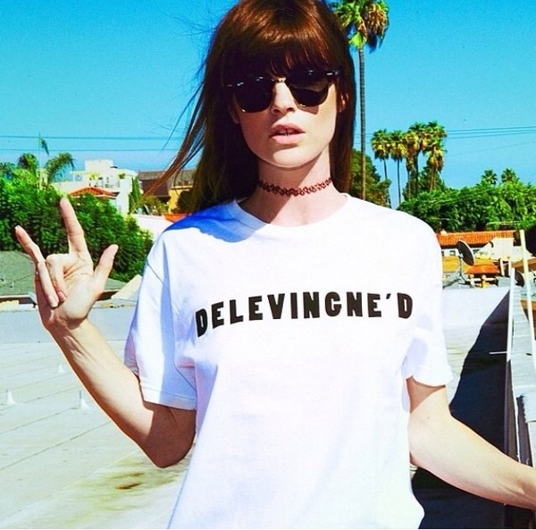 t-shirt t-shirt funny shirt name cara delevingne instagram awesomness black and white white jewels