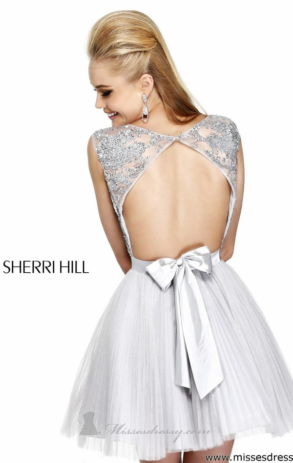 dress bow prom prom dress short prom dress grey sequin dress open back sherri hill