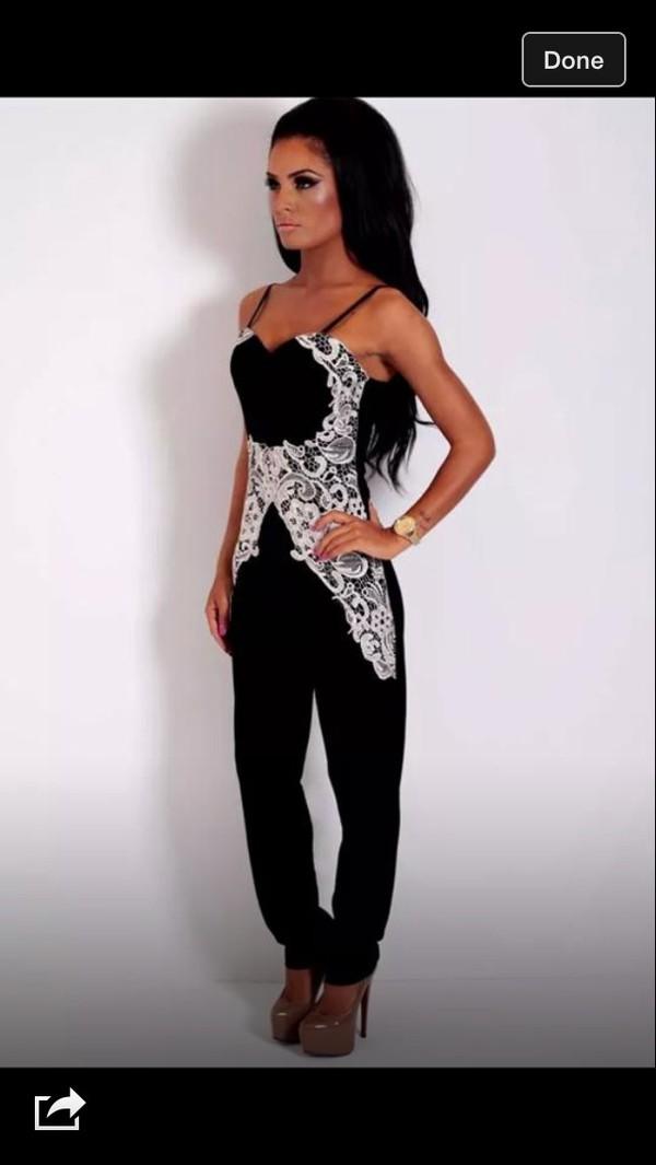 jumpsuit black white lace