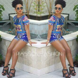 jumpsuit shorts short blue combinaison wax fabric ethnic colorful t-shirt sexy high waisted shorts romper aztec