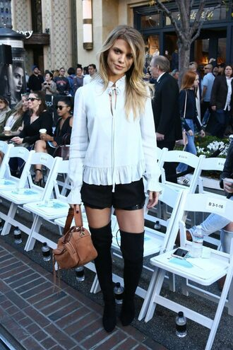 blouse shorts annalynne mccord over the knee boots top