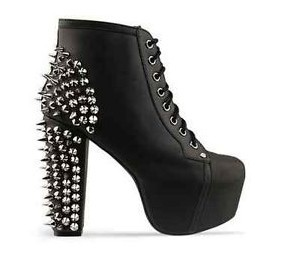 Free Shipping Worldwide Jeffrey Campbell Lita Spike Black Leather Platform Ankle Boots-in Boots from Shoes on Aliexpress.com