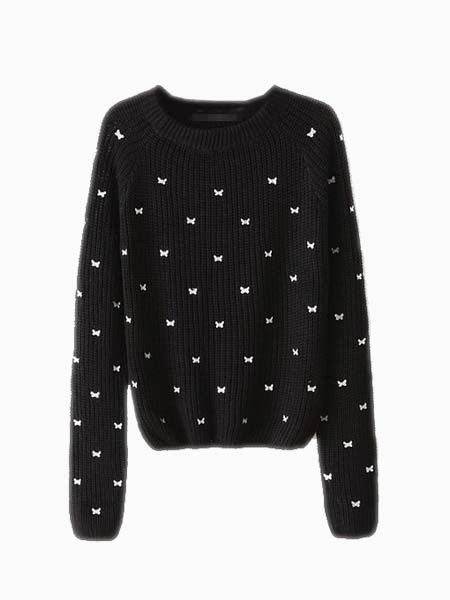 Crew Knitted Jumper With Butterfly Pattern In Black | Choies
