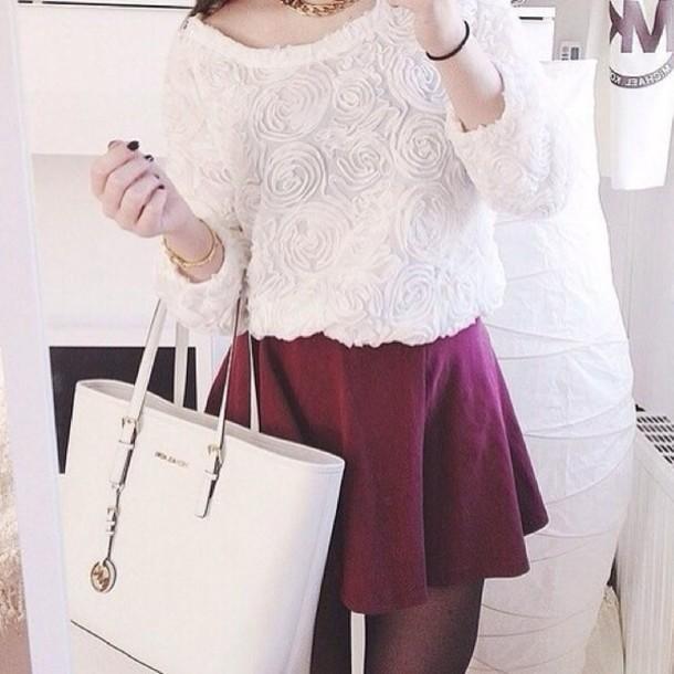 sweater skirt top top flowers
