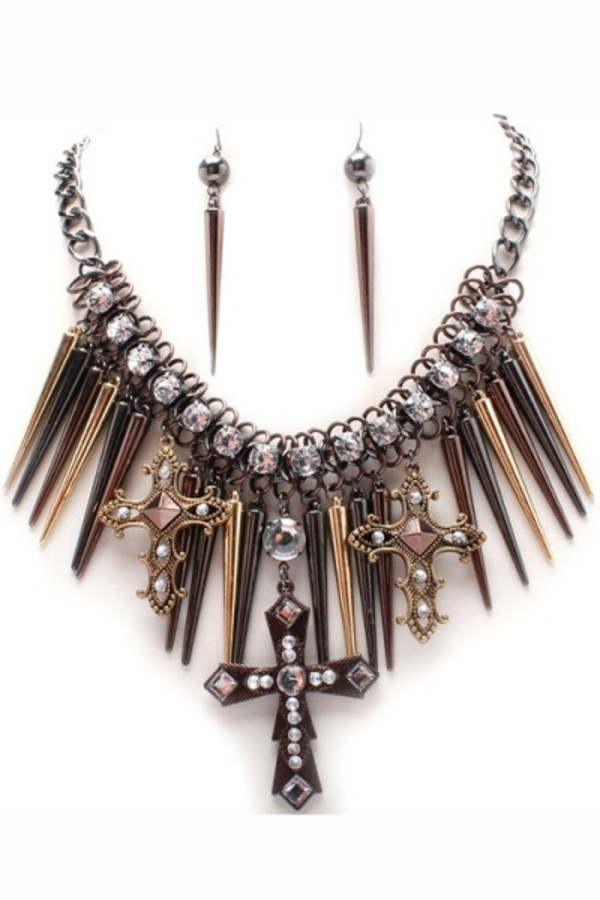 jewels necklace cross spikes rhines