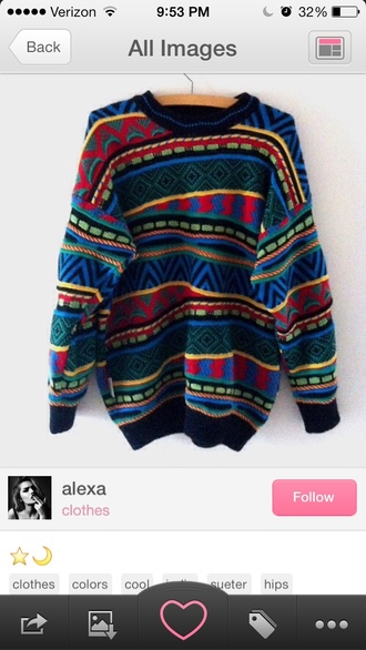 sweater vintage colorful patterns oversized sweater