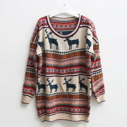 New Style Nordic Reindeer Round Neck Loose Jumper [#1] on Luulla