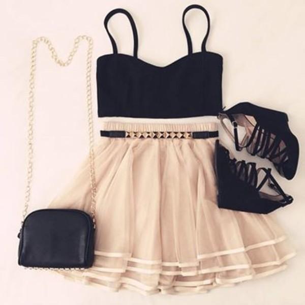 skirt top bag shoes blouse