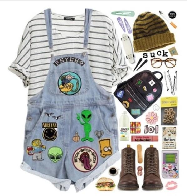 shorts hat shoes shirt bart simpson grunge soft grunge indie denim overalls