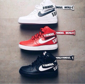 shoes nike air force 1 white red supreme nike sneakers nike