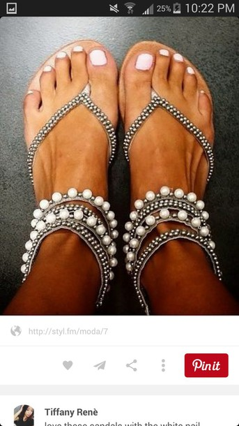 shoes sandals pearl bling beading