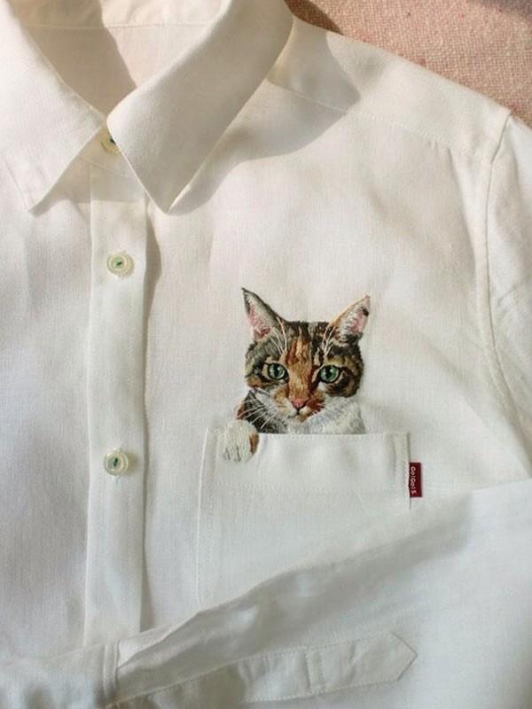 blouse cats cat pocket cat blouse vintage art indie hipster
