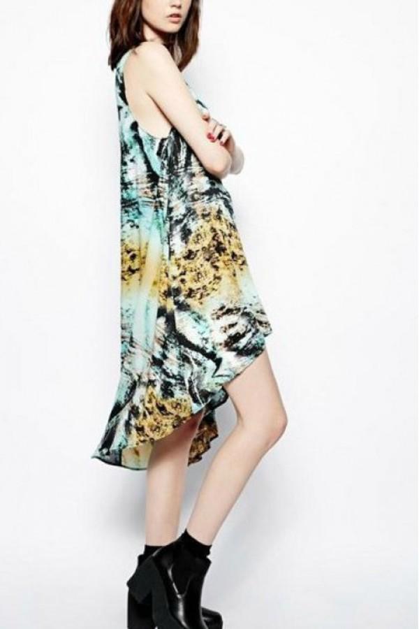 dress kcloth hi- low dress fashion painting dress