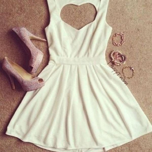 dress cute white heart