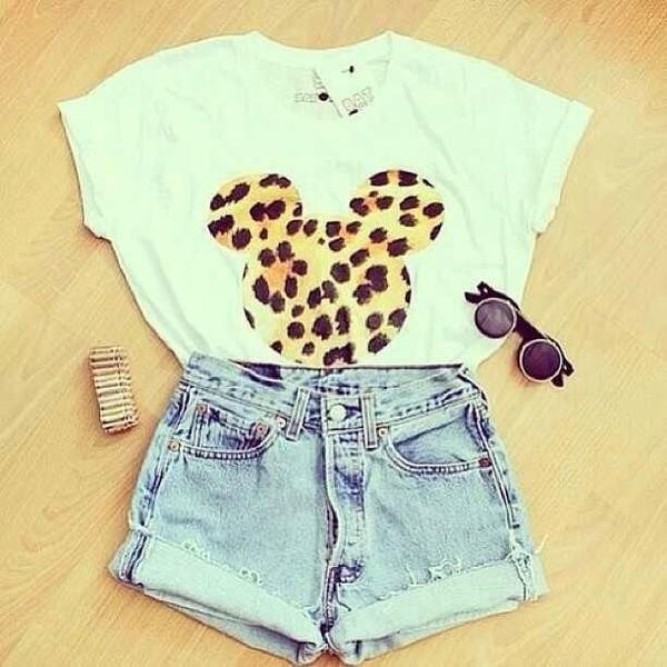 t-shirt mickey mouse leopard print denim shorts shorts shirt blouse