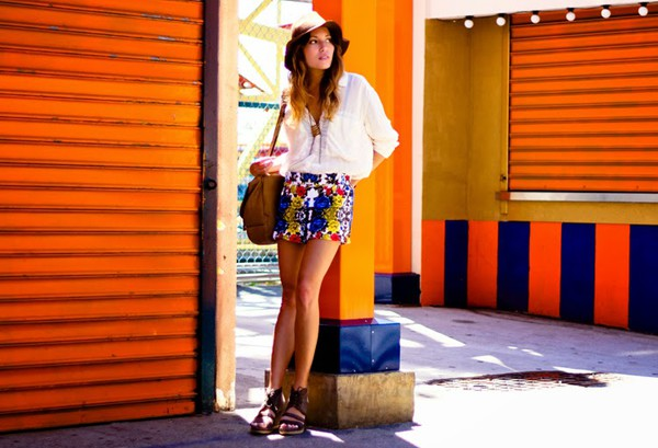 the marcy stop blouse shorts bag jewels hat shoes