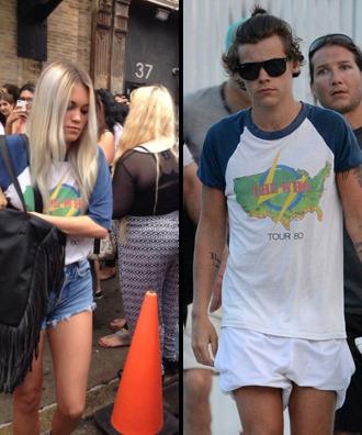 t-shirt harry styles kara harry one direction white blue shirt