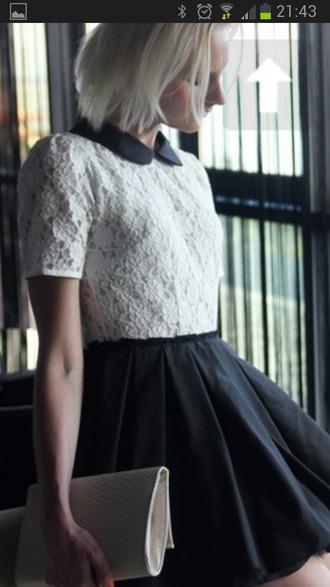 shirt lace peter pan collar collar white black cute