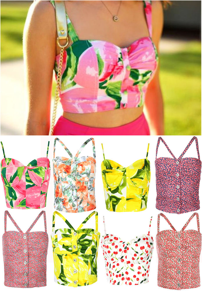 Ladies Printed Button Front Boobtube Top Womens Zip Back Bralet Vest Size 6-14 | eBay