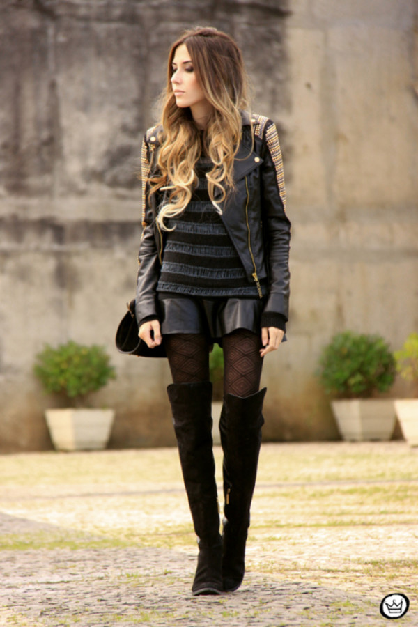 fashion coolture jacket sweater tights bag shoes