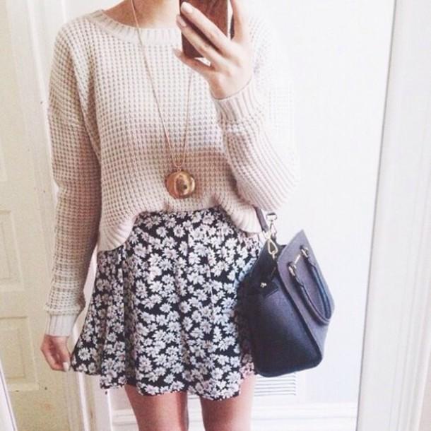 sweater cream sweater cute sweater skirt floral skirt cute skirt