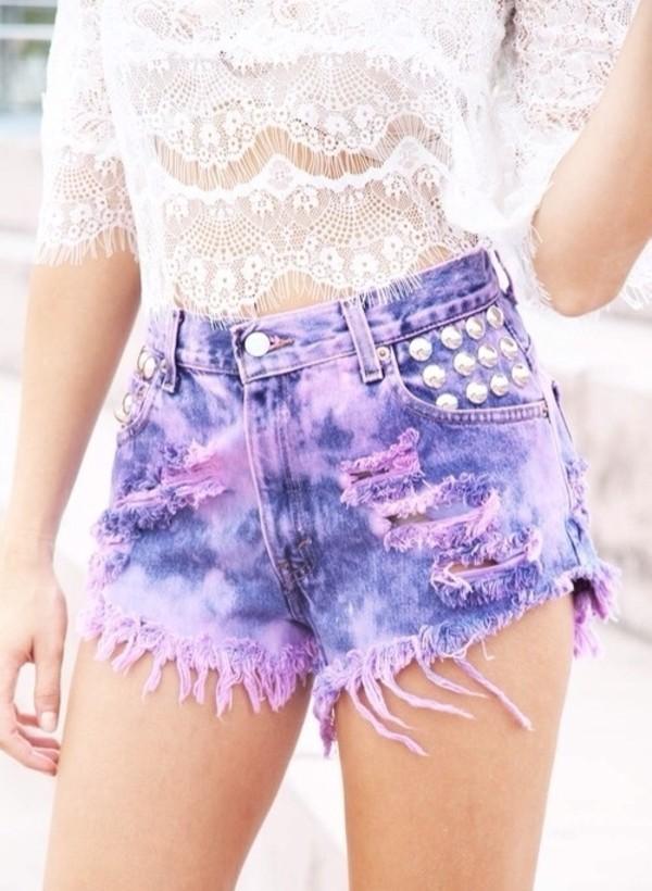 shorts white blouse cream top summer purple gorgeous denim high waisted jeans stidded purple short shirt pruple shorts ripped shorts girly