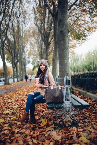 thesweetestthing blogger sweater jeans shoes hat scarf bag fall outfits louis vuitton louis vuitton bag ankle boots brown boots beanie