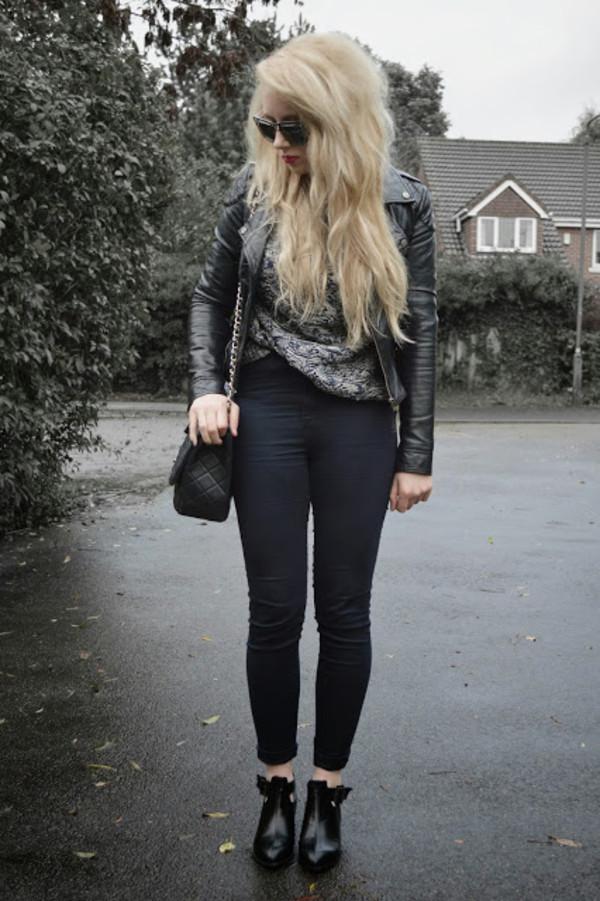 sammi jackson jacket sweater jeans sunglasses bag shoes