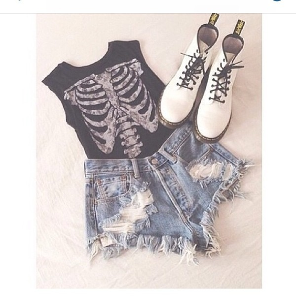 shirt High waisted shorts boots white shoes pants high waisted pants skeleton cut off sleeves rib cage black b&w tank top ribcage ribs bones xray