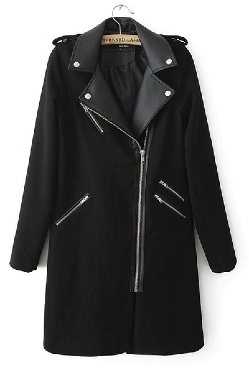 Black Epaulet Woolen PU Joint Overcoat,Cheap in Wendybox.com