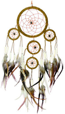 TrippyStore.com - Five Rings with Feathers - Tan - Dreamcatcher