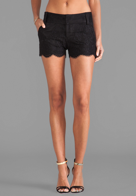 ALICE   OLIVIA Wide Waistband Scallop Shorts in Black at Revolve Clothing - Free Shipping!