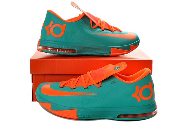 Womens KD 6 Teal Team-Orange Colorways Nike Kevin Durant Shoes