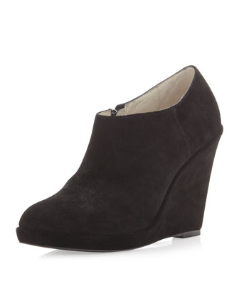 Steven by Steve Madden Gina Suede Wedge Bootie, Black - Neiman Marcus Last Call
