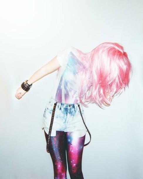leggings glaxy triangel hipster shorts galaxy print pink pink hair galaxy leggings outer space space space leggings space print hair dye top t-shirt bracelets bracelets jewelry cool leggings cute leggings spacegirl