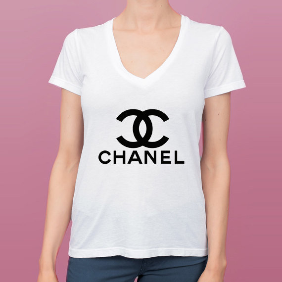 Chanel Logo V Neck Tee Shirt on Wanelo