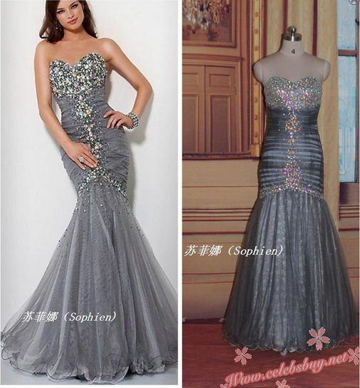 Celebrity prom dress: Red carpet grey jewel sweetheart mermaid dress $228 each at Celebsbuy.net