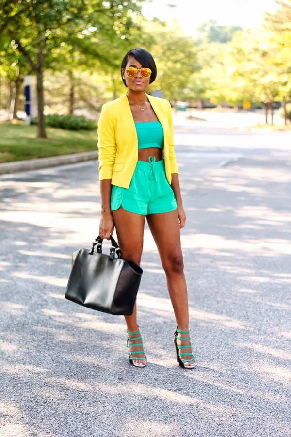 the daileigh jacket t-shirt shorts bag sunglasses shoes turquoise