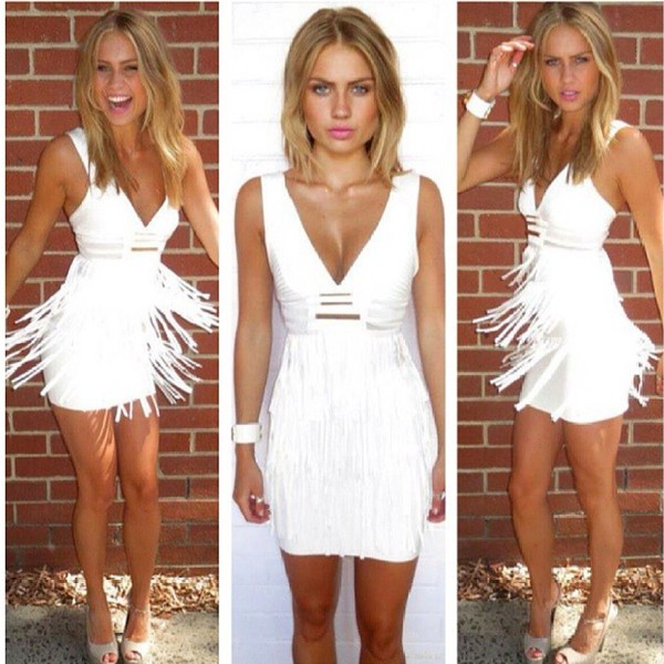 dress white fringe bandage dress white bandage fringe dress v necck