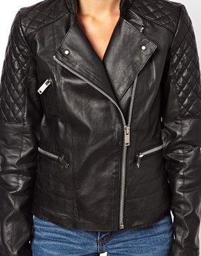 Mango   Mango Quilt Detail Leather Jacket at ASOS