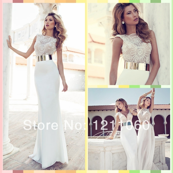 Aliexpress.com : Buy Long Mermaid Evening Dress 2014 Sexy O neck Cap Sleeve Beaded Satin White Modest Prom Dresses With Sleeves Evening Dresses from Reliable dress up time prom dresses suppliers on BestDressProvider
