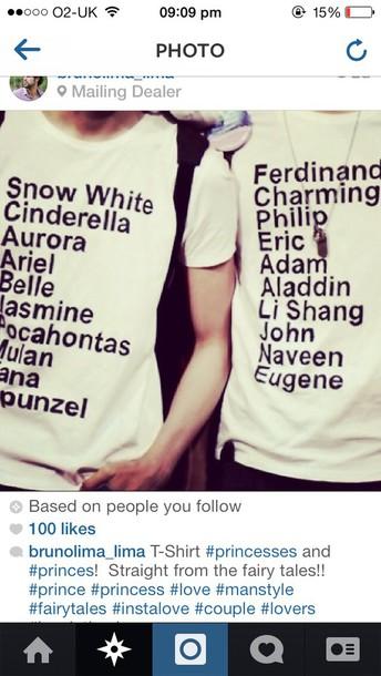 Well-liked disney, matching set, t-shirt, couple, funny, princess - Wheretoget VS64