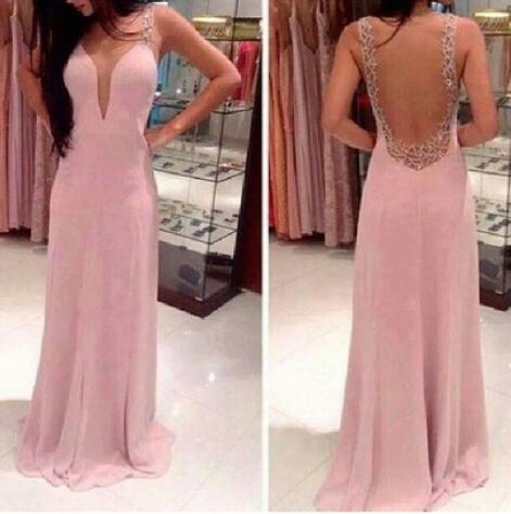Sexy Open Back Chiffon Prom Dress With Lace, Floor Length Prom Dresses With Lace, Prom Dresses on Luulla