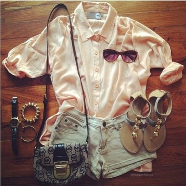 bag hipster sandals new sunglasses shorts buttonupshirt spiked bracelet bracelets gold watch blouse