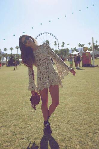 dress festival crochet hipster hippie indie vintage bag shoes lace coachella brunette boho bohemian gypsy pretteeh white outfit brown knitwear perfect in every way long sleeve see through clothes carnival top bohemian dress festival top white dress indie boho vintage dress cute dress summer dress lace dress cream boho dress crochet dress festival dress