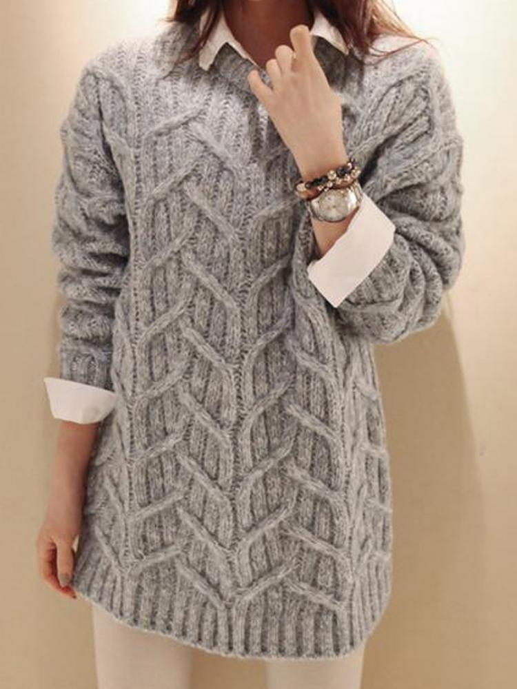Gray Loose Cable Knit Jumper | Choies