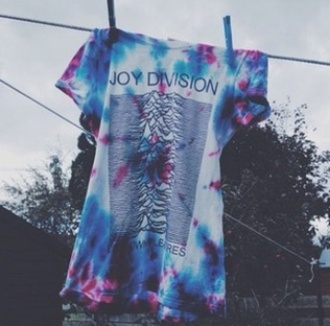t-shirt joy division tie dye tie dye shirt young teenagers blue violet pink purple hippie hipster grunge band shirt band t-shirt joy devision unknown pleasures